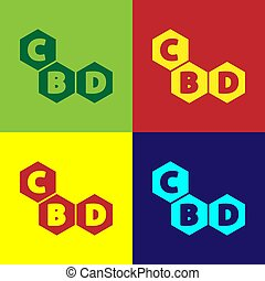 Pop art Cannabis molecule icon isolated on color background...