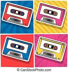 Pop art cassette cartoon