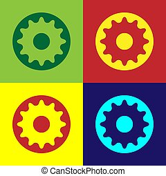 Pop art Chakra icon isolated on color background.  Vector