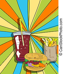 Pop art cheeseburger, fries and soda