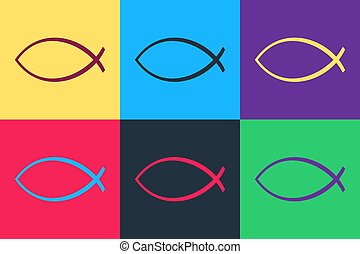 Pop art Christian fish symbol icon isolated on color background. Jesus fish symbol. Vector.
