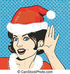 Pop art christmas woman - Woman in christmas clothes...