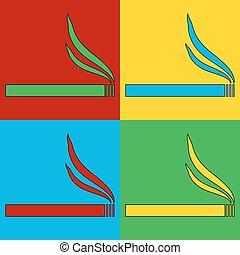 Pop art cigarette symbol icons.