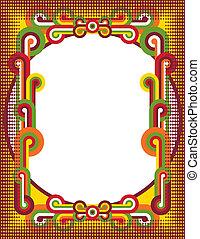 A retro pop art style frame with half-tone dot border.