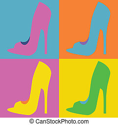 pop art  style woman shoes , illustration in vector format
