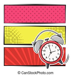 pop art clock ring banner design