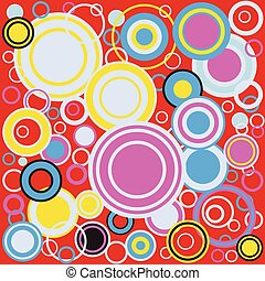 Pop Art Colour Circles - A background of retrograde...