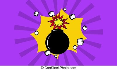 pop art comic bomb explosion burst vintage