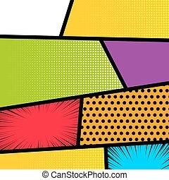 Pop art comic book strip background