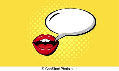 pop art comic - pop art woman mouth lips speech bubble...
