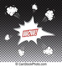 Pop art comic speech bubble, wow