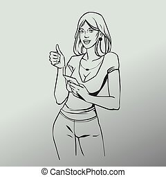 Pop art comic style illustration with woman thumbs up