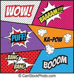 Pop art comics style template background