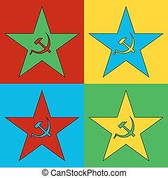 Pop art communism star symbol icons.