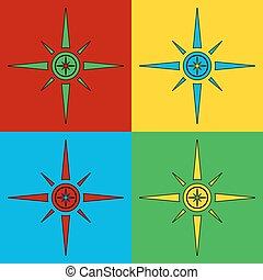 Pop art compass symbol icons.