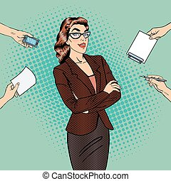 Pop Art Confident Business Woman at Multi Tasking Office Work. Vector illustration