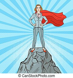 Pop Art Confident Business Woman Super Hero in Suit with Red Cape Standing on the Mountain Peak