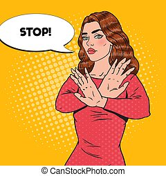 Pop Art Confident Woman Showing Stop Hand Sign. Vector illustration