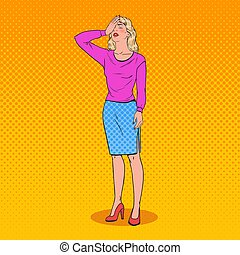Pop Art Confused Young Woman Covering Her Face with Hands. Facial Expression Negative Emotion. Vector illustration