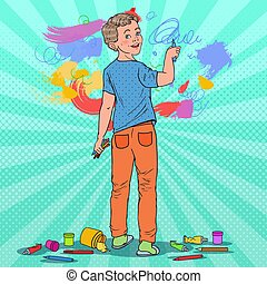Pop Art Creative Boy Drawing on the Wall. Joyful Child Painting with Crayons on Wallpaper. Vector illustration