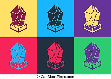 Pop art Cryptocurrency coin Ethereum classic ETC icon isolated on color background. Digital currency. Blockchain based secure cryptocurrency. Vector