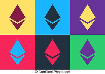 Pop art Cryptocurrency coin Ethereum ETH icon isolated on color background. Digital currency. Altcoin symbol. Blockchain based secure crypto currency. Vector.