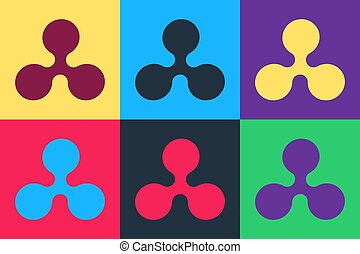 Pop art Cryptocurrency coin Ripple XRP icon isolated on color background. Digital currency. Altcoin symbol. Blockchain based secure crypto currency. Vector.