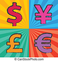 retro currency symbol in pop art style with sunburst background