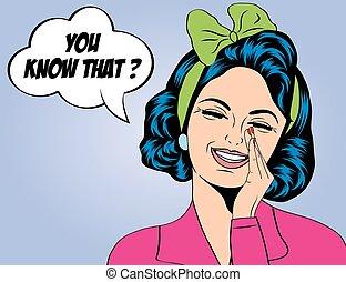 pop art cute retro woman in comics style laughing, vector...