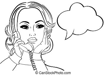 pop art cute retro woman in comics style talking on the phone