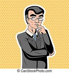 Pop Art Decision Making Thoughtful Genius Smart Adult Businessman Character Icon on Stylish Background Retro Vintage Cartoon Poster Design Vector Illustration