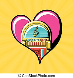 pop art design - heart with rockola icon over yellow...