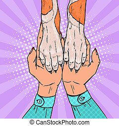 Pop Art Dog Paws and Female Hands. Friendship Between Human and Pet. Vector illustration