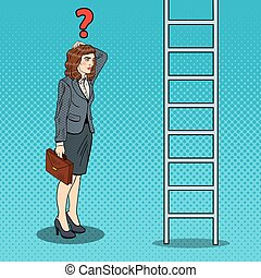 Pop Art Doubtful Business Woman Looking Up at Ladder. Vector illustration