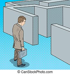 Pop Art Doubtful Businessman with Briefcase Standing in Front of Labyrinth. Vector illustration