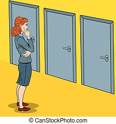Pop Art Doubtful Businesswoman Choosing the Right Door....
