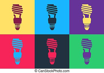 Pop art Energy saving light bulb icon isolated on color background.  Vector