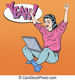 Pop Art Excited Young Woman with Laptop and Hands Up. Vector...
