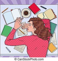 Pop Art Exhausted Female Student Sleeping on the Desk with Textbooks. Tired Woman Preparing for Exam. Vector illustration