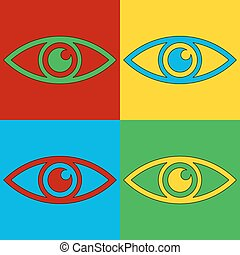 Pop art eye symbol icons.