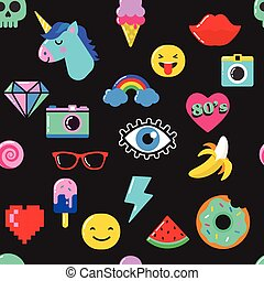 Pop art fashion chic seamless pattern with patches and stickers