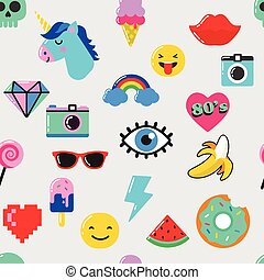 Pop art fashion chic seamless pattern with patches and ...