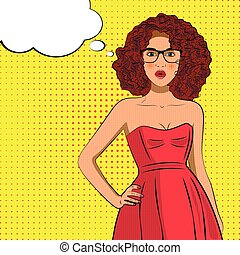Pop art fashion curly woman with bubble sign.