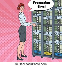 Pop Art Female Network Engineer Working with Hardware Data Center. Build Server Database. Technicianin Server Room. Vector illustration