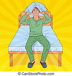 Pop Art Frustrated Man Closing Ears with Pillow. Stressful Morning Situation. Guy Suffering from Insomnia. Vector illustration