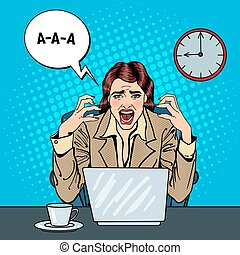 Pop Art Frustrated Stressed Business Woman Screaming at...