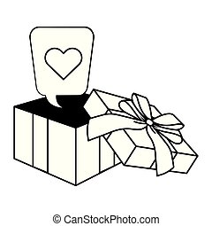 Pop art gift box cartoon in black and white