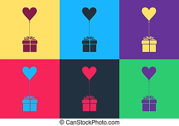 Pop art Gift with balloon in shape of heart icon isolated on color background. Valentine's day, wedding, birthday card. Vector