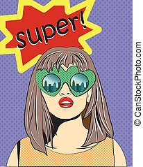Pop art girl in glasses with text 'Oops'