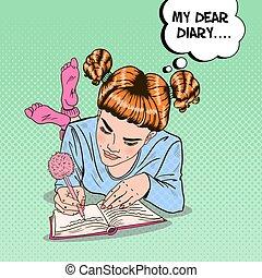 Pop Art Girl in Pink Socks Writing in Diary. Vector illustration